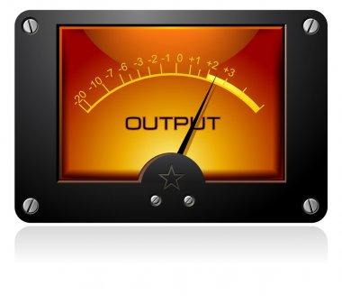 Analog Electronic Signal Meter on orange background with