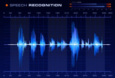 Speech recognition signal on blue background, Blue Spectrum Analyzer vector stock vector