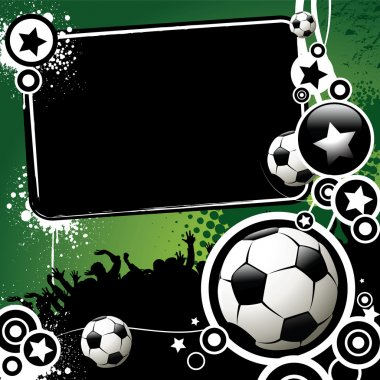 Football banner with the balls and stars on a green background clip art vector