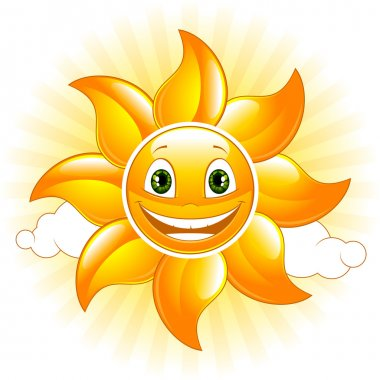 Cartoon happy sun. Vector illustration. stock vector