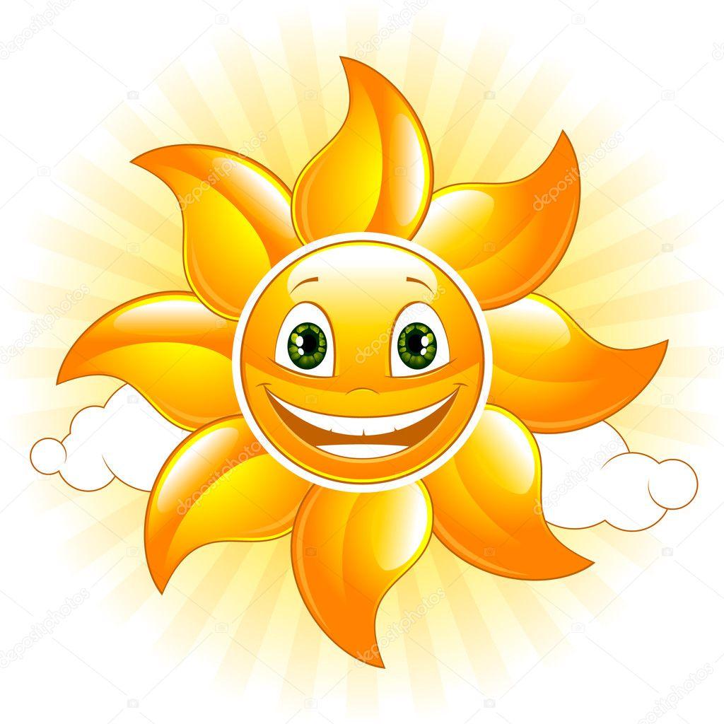 Cartoon happy sun