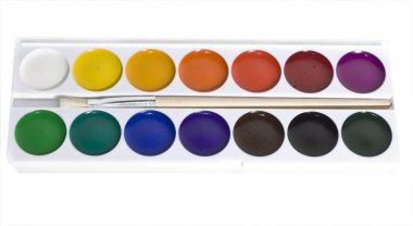 Set of water colour paints with a brush
