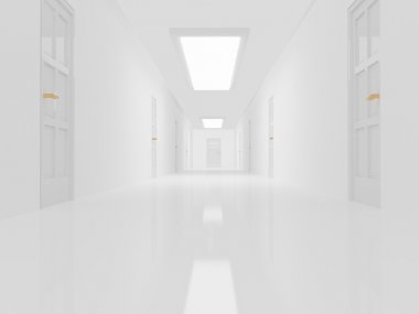 Holding alley with white floor and doors