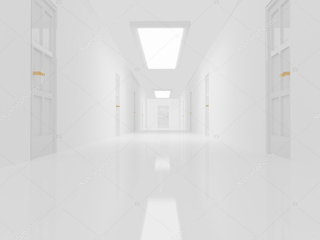 Holding Alley With White Floor And Doors U2014 Stock Photo #1162946