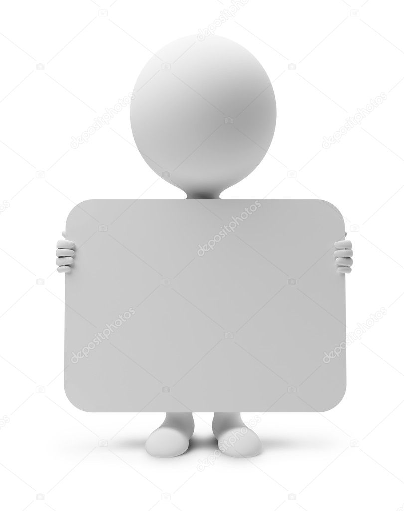 3d small with the announcement. 3d image. Isolated white background.
