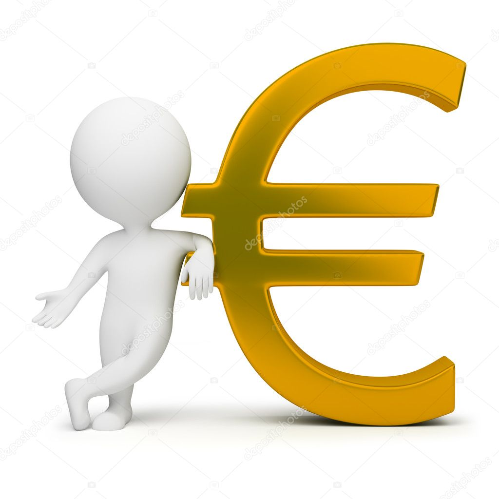 3d small with a gold euro sign. 3d image. Isolated white background.