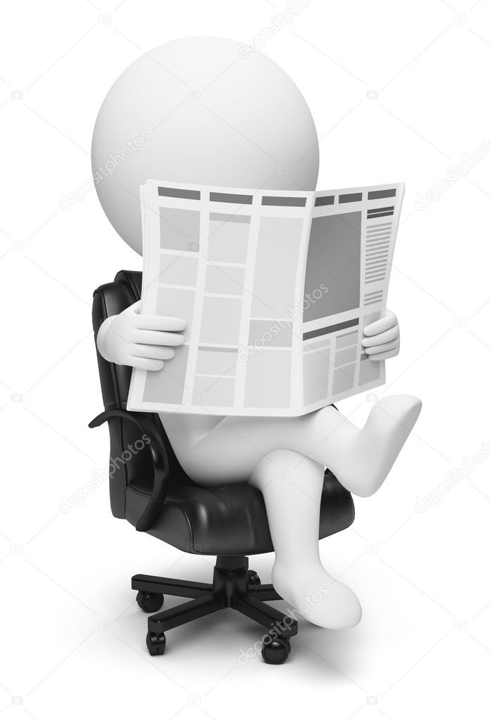3d small reading the newspaper sitting in a working armchair. 3d image. Isolated white background.