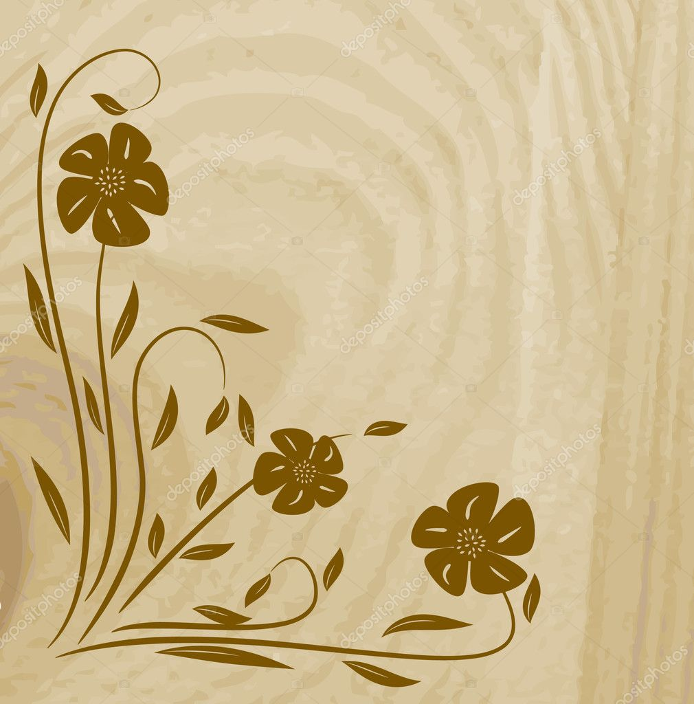 Wooden texture with flower