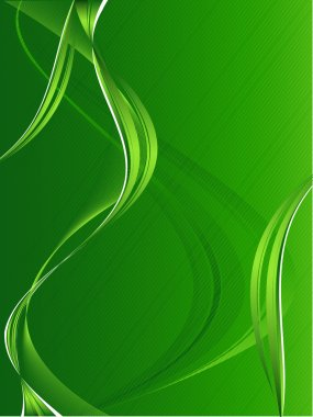 Abstract vector modern backdrop with wavy lines in green color clip art vector