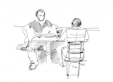 Fellows in a cafe