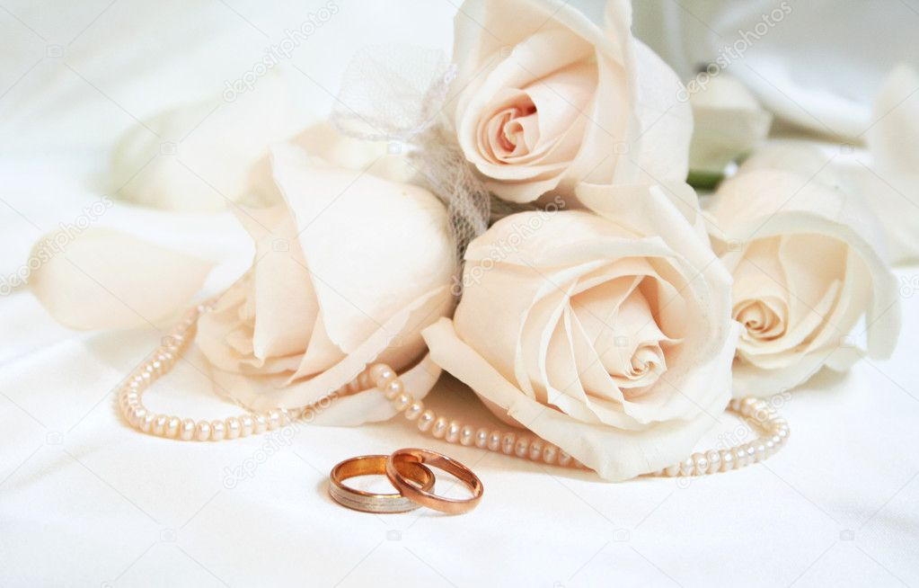 Wedding rings and roses Stock Photo oxanatravel 1393416