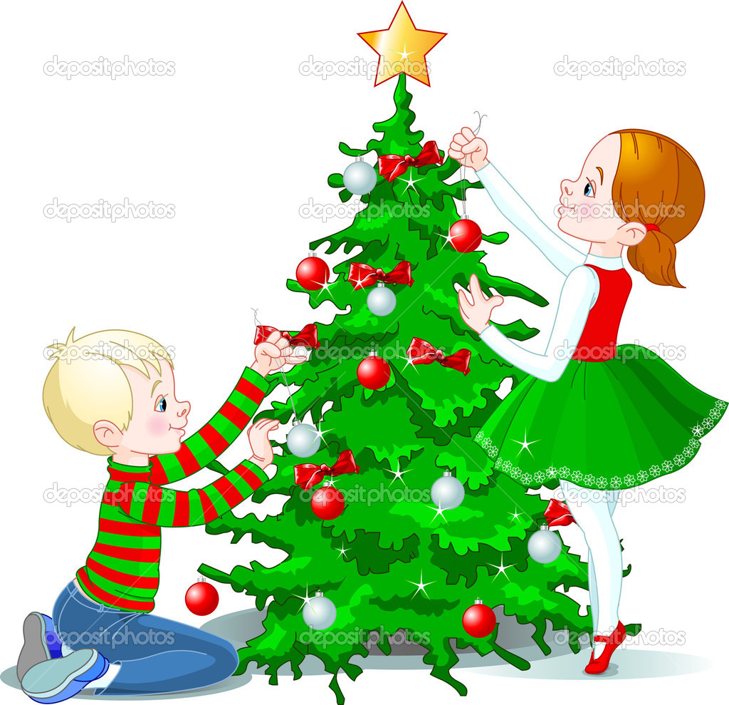 Kids Decorating Christmas Tree: Children Decorate A Christmas Tree