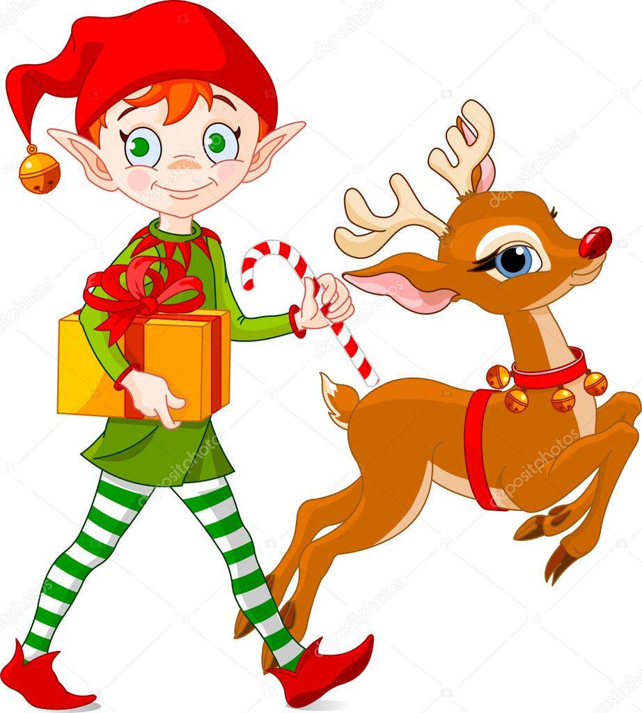 christmas elf and rudolph u2014 stock vector dazdraperma 1138234