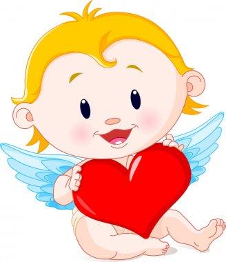 Vector illustration of Cartoon Cupid Angel holding heart clip art vector