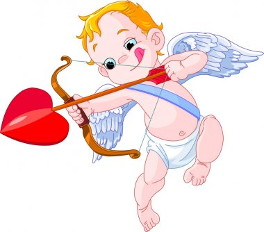 Illustration of a Valentine's Day cupid ready to shoot his arrow clip art vector