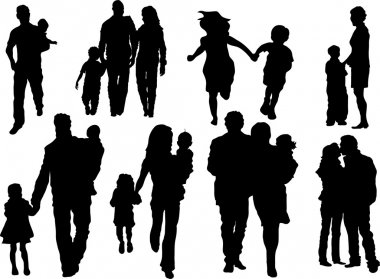Vector set of happy family silhouettes stock vector