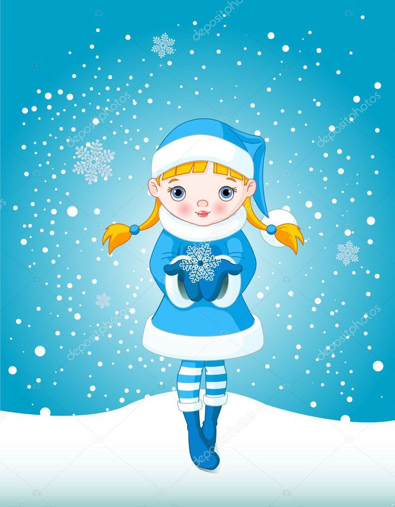 Девочка со снежинкой картинка