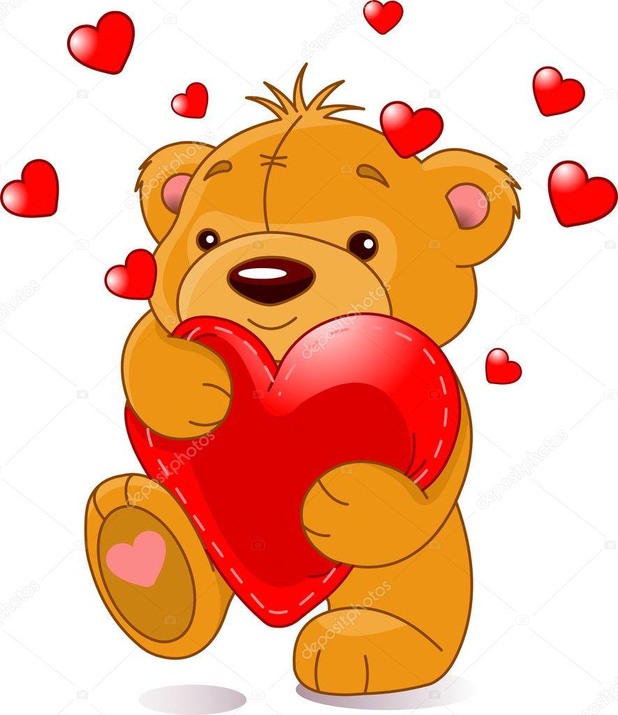 ours avec coeur image vectorielle - Ours Coeur