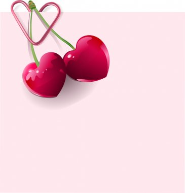 Love Letter with pair of heart-shape cherries clip art vector