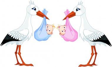 Two storks delivering a newborn babies