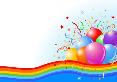 Vector illustration of Party balloons background with rainbow ribbon clip art vector