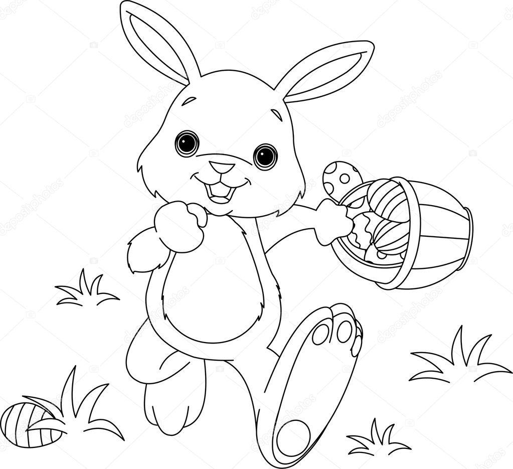 conejo de Pascua escondiendo huevos Página para colorear — Archivo ...