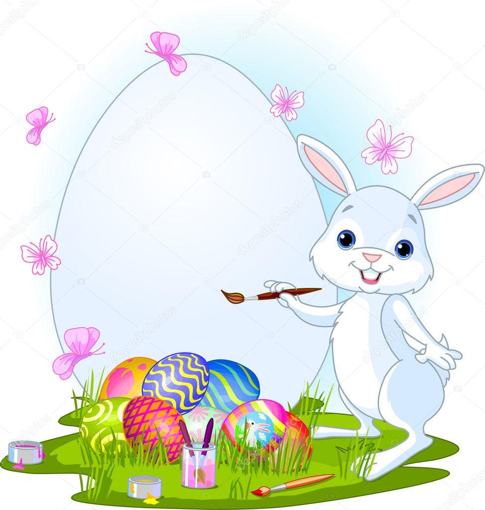 conejo de Pascua pintando huevos de Pascua — Archivo Imágenes ...