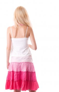 Fragile young woman back