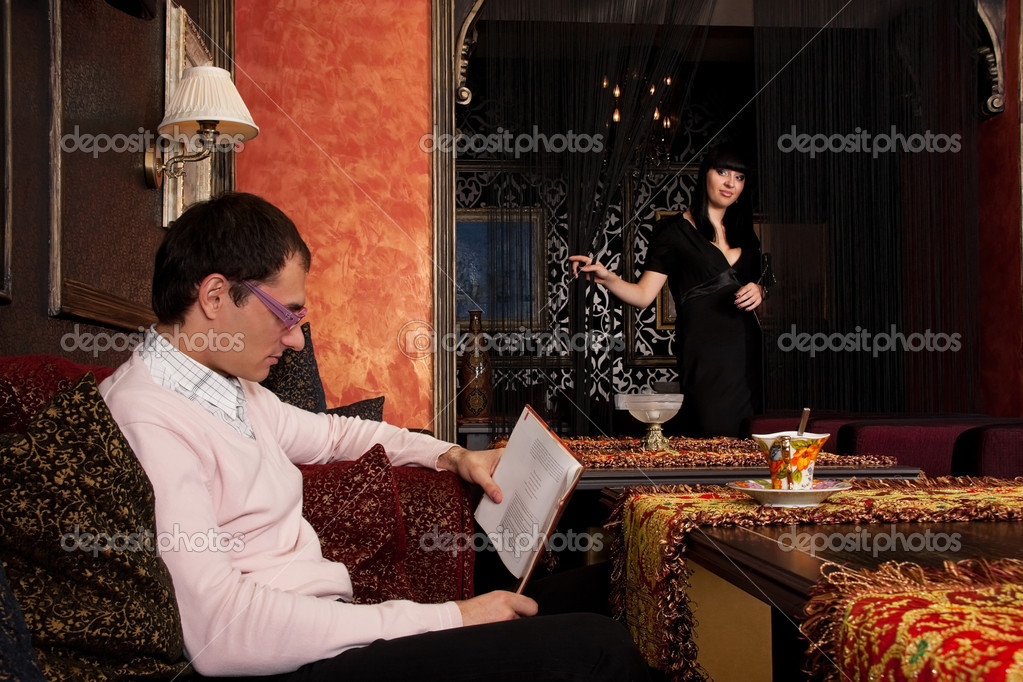 Young couple in luxury interior