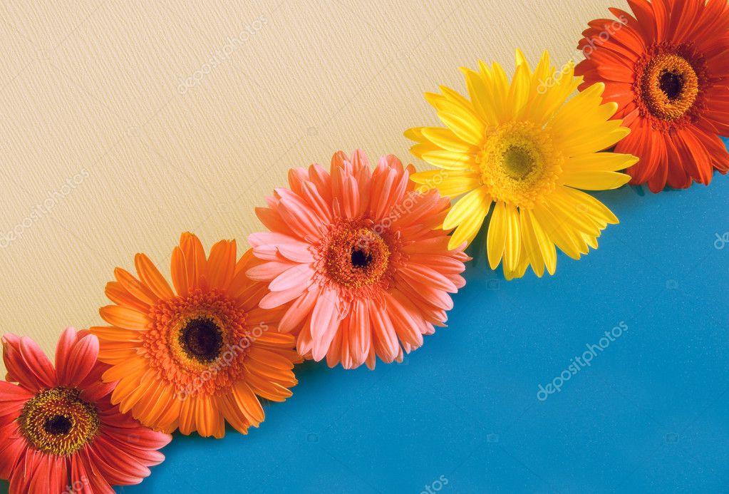 Five bright colours on a diagonal