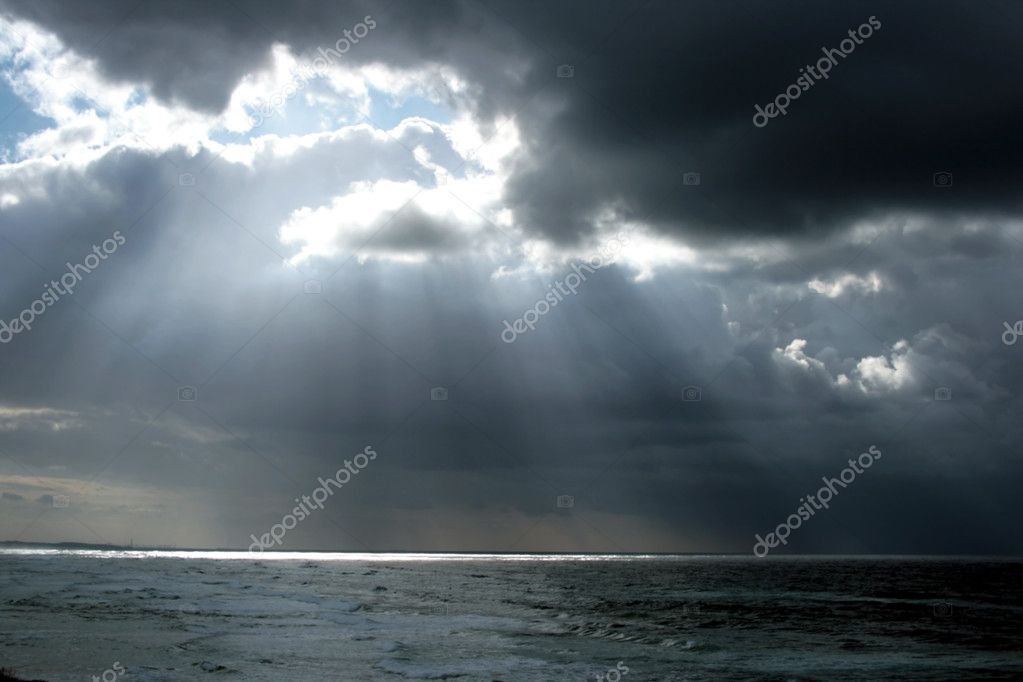 Rays of sun on the sea