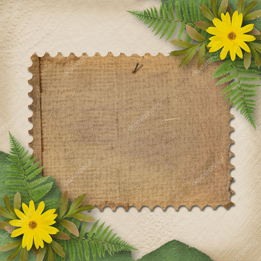 Grunge paper with bunch of flower on the
