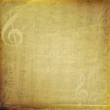 Musical background with gold notes