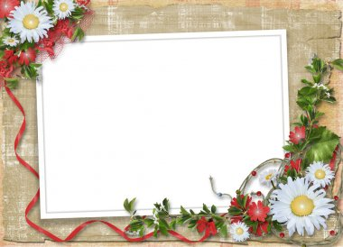 Paper frame with floral bouquet