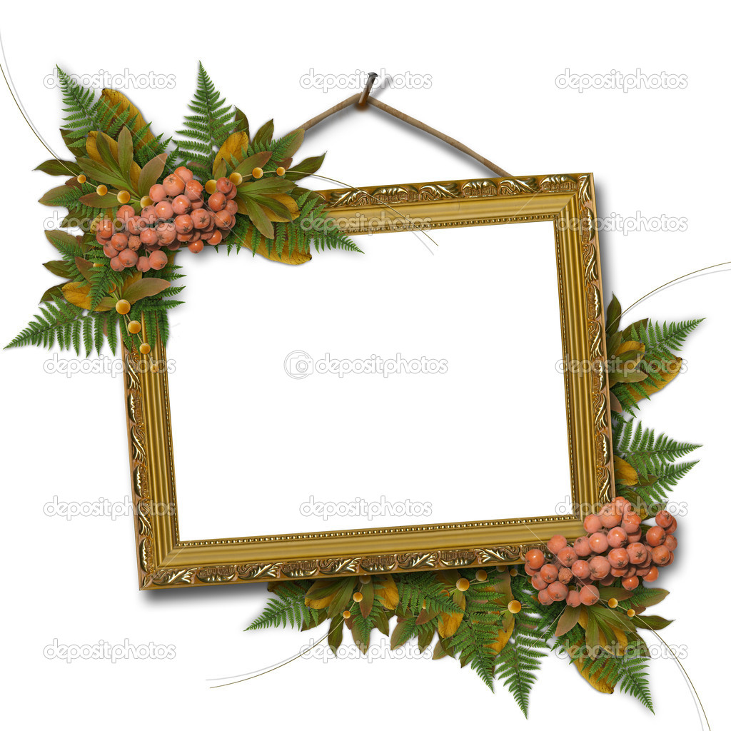 Picture gold frame with ash