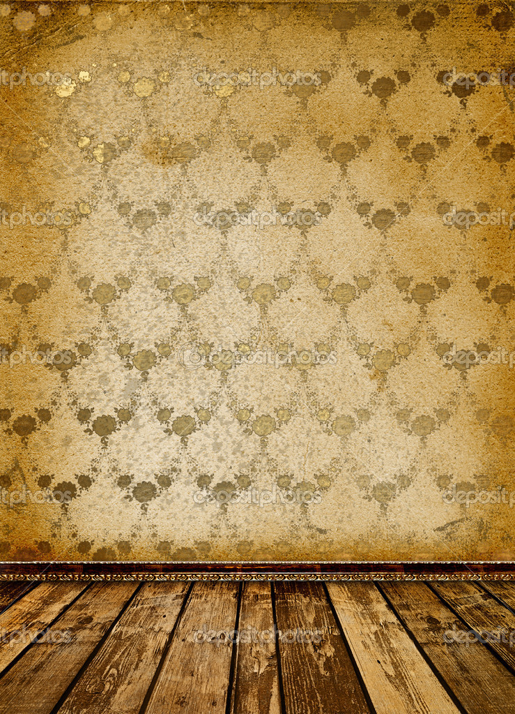 Old room with worn wallpaper