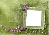 Green abstract background with frame
