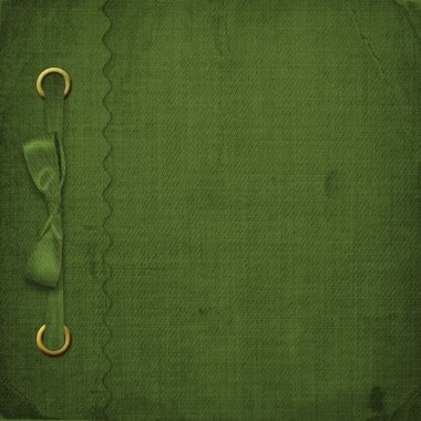 Green cover for an album with photos