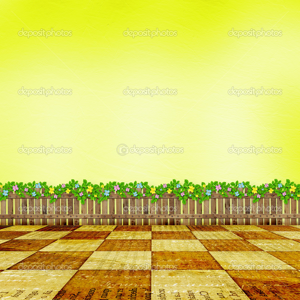 Wooden fence with a flower garland