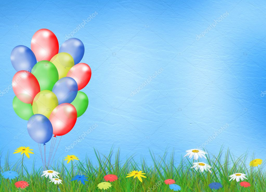 Multicolored background with balloon