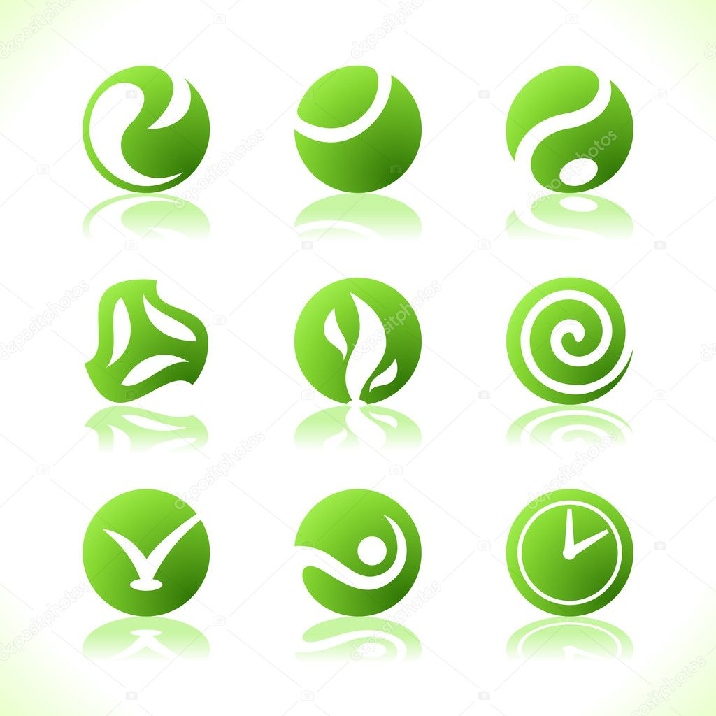 Green symbols eco. Vector illustration