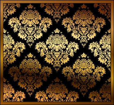 Seamless vector floral background gold