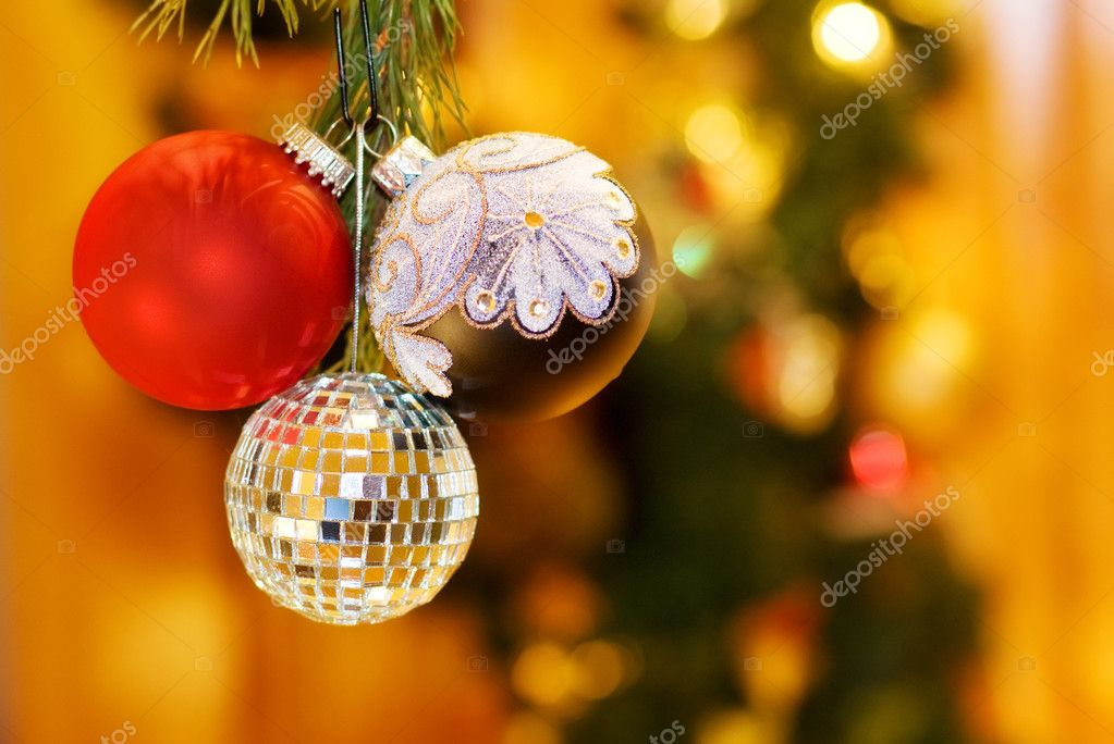 Christmas night with festive baubles