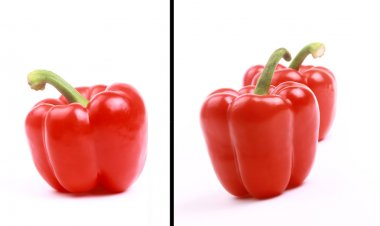 Red pepper with a green pod
