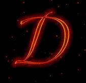 Fotografie Fire font. Letter D
