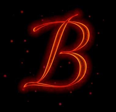 Fire font. Letter B