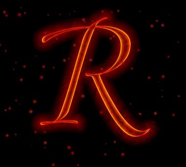 Fire font. Letter R from alphabet
