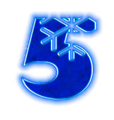 Photo Winter snowflake font - number five