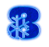Photo Winter snowflake font - number eight