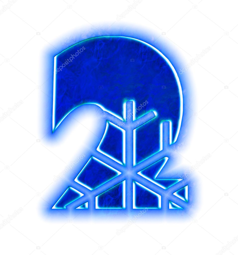 Winter Snowflake Font Number Two Stock Photo Silverkblack 1426848